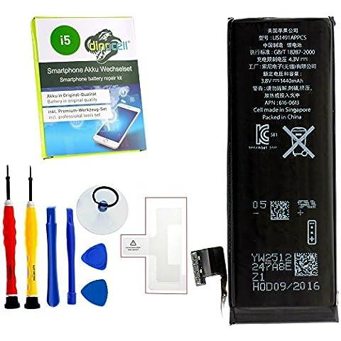 Dinocell® MADE Batería para original iPhone 5 5G 1440mAh, última producción 06/2016, NUEVO sin ciclos de carga, incluidas Dinocell® PREMIUM Herramientas de 7-piezas, NUEVO
