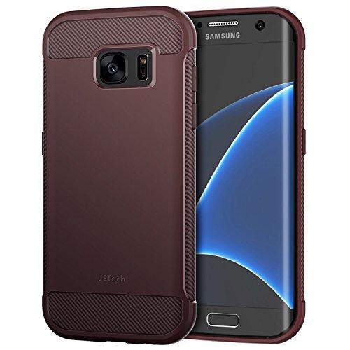 JETech Hülle für Samsung Galaxy S7 Edge Tasche mit Stoßdämpfung und Carbon Faser (Pflaume) Carbon Tasche