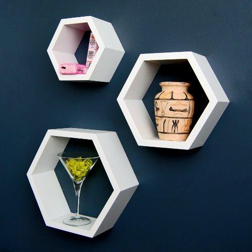 Ts-ideen - set scaffali esagonali, design rétro anni '70, da appendere alla parete o appoggiare sul pavimento, 3 pezzi, colore: bianco