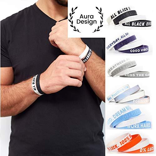 Aura Design Armband für Damen & Herren | Armbänder Sportarmband | Silikonarmband | Fitness Armband | 4 Armbänder (Schwarz & Weiß) - Männer Für Sport-armband