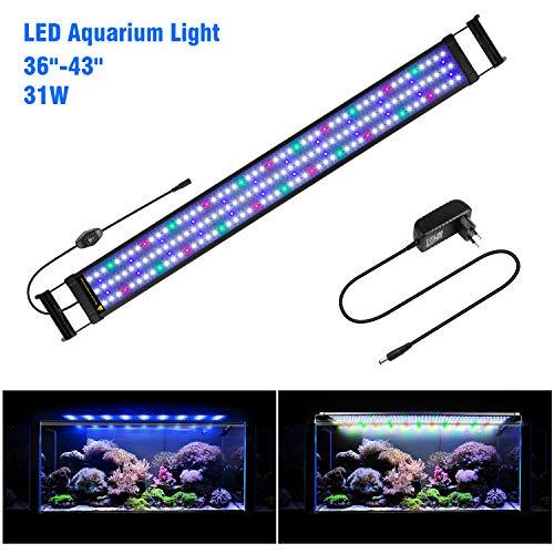 FTALGS Aquarium LED Beleuchtung Aquariumbeleuchtung Weiß Blau Rot Grün von Licht (100A=39.3''-47.2''(94CM))