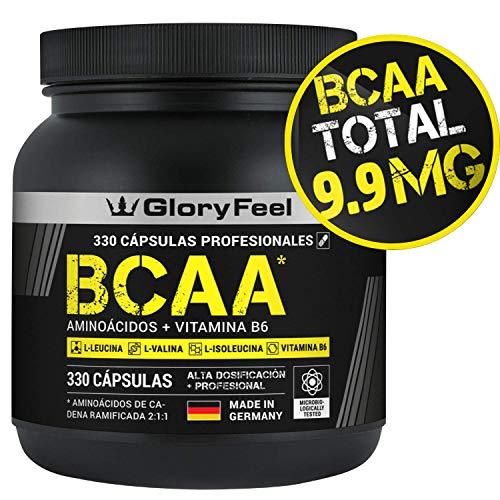 GloryFeel BCAA 330 Cápsulas - 9.910mg de BCAA por dosis diaria - Aminoácidos esenciales...