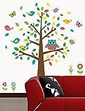 Wand Sticker Wand Aufkleber, Bunte Eulen Baum PVC Wandtattoo