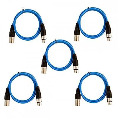 Soundlab Pack of 5 Blue 3 Pin XLR Line Female Socket to Male Plug Patch Lead 1M by Soundlab