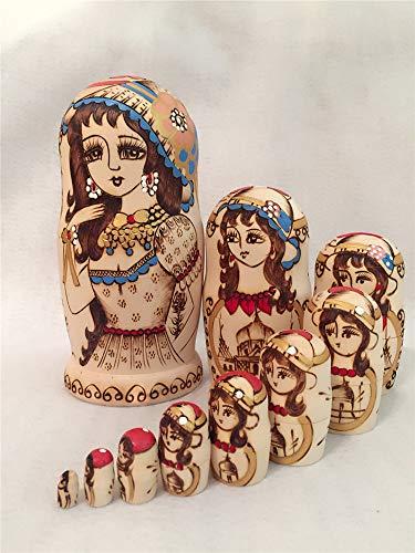 GLITZFAS 10pcs Schöne Frau Matroschka Russische Puppen Holzspielzeug Handwerk Spielzeug Geschenk - Marionetten Kostüm Kinder
