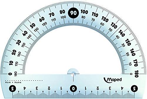 Maped M146134 Winkelmesser, 180 Grad, 1 Stück, 12 cm mit Schutzhülle