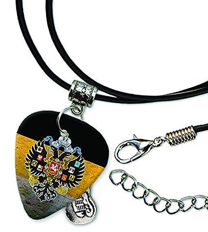 Russian Imperial Eagle Russia Empire Flag Plektrum Halskette Leder Schnur Necklace (GD)