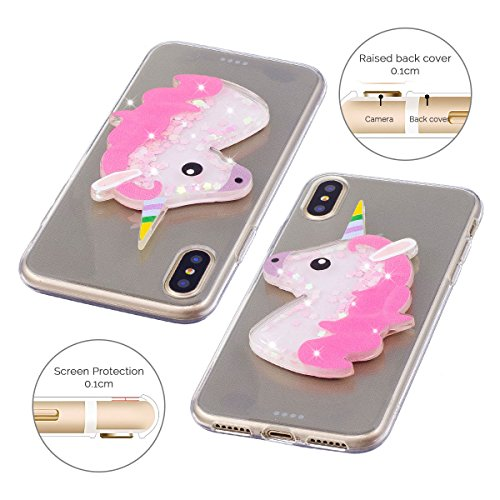 Cover iPhone 8 Spiritsun iPhone Custodia TPU Moda Elegante Case Cover Soft Silicone Back Cover Protezione Bumper Funzione Shell Morbida Flessible TPU Cover Per iPhone 8 Phone Custodia - Rosa Unicorno Rosa Unicorno
