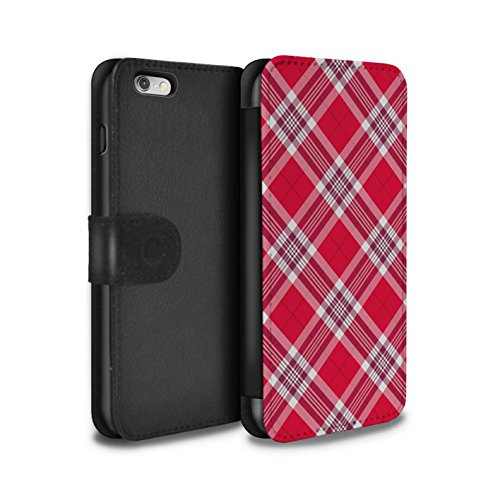 Stuff4 Coque/Etui/Housse Cuir PU Case/Cover pour Apple iPhone 6S+/Plus / Rouge Foncé Design / Tartan Pique-Nique Motif Collection Rouge