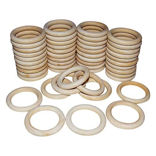 Natürliche Holzringe Set 50 Stück - Baby Beißring - Unbehandelte Glatte Gardinen Stangen Ringe aus Holz (7cm) mit Fädelloch (5cm) fürs Basteln, Servietten, Vorhangringe, DIY Dekoration und Weihnachten
