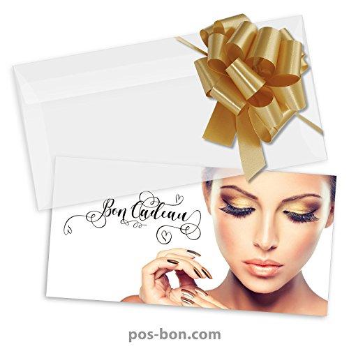 25 Bons cadeaux universels + 25 enveloppes + 25 noeuds rubans pour instituts de beauté KS9280F