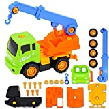 deAO Take-Apart Construction Trucks Vehicles to Assemble – Set of 4 Builder Trucks and Screw Driver Included (Multicolour)