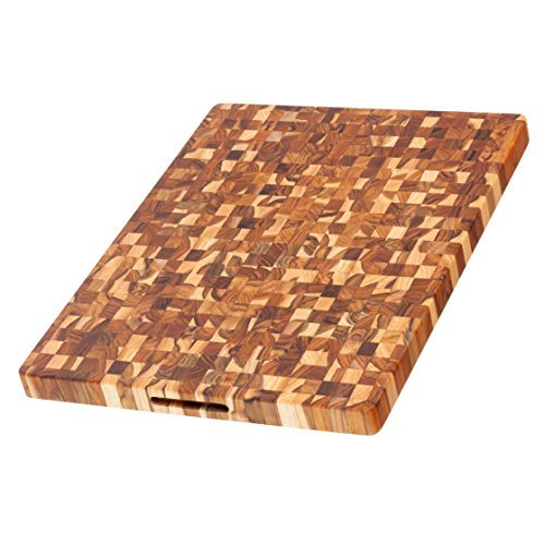 Teak Cutting Board - Rectangle End Grain Butcher Block (24 x 18 x 1.5 in.) - By Teakhaus by Teakhaus