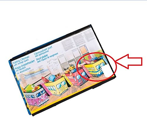 Caja con tapa acolchado Diseño de tren, vagón en amarillo multicolor–Taburete plegable–Taburete tapizado 40cm x 25cm x 25cm asiento Caja Banco taburete Caja de piel sintética Box Caja para juguetes Tapa abwischbar