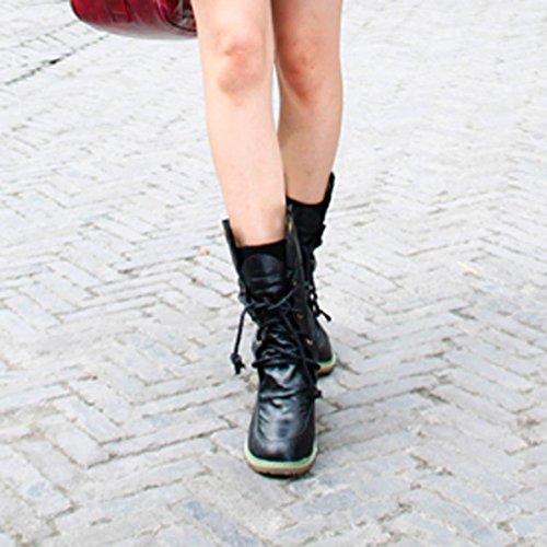 Longra Retro stivali britannici di colore solido delle donne che merlettano il trasporto degli stivali del Martin dell'automobile Nero