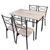 Life Carver Modern Design Kitchen 5 Piece Dining Table and 4 Chairs Dining Room Furniture Set