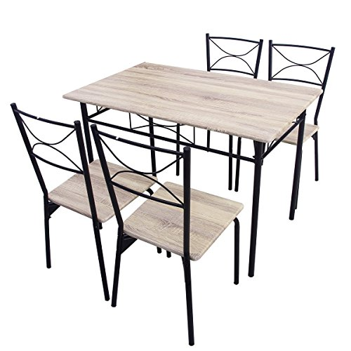 kitchen 5 piece dining table and 4 chairs dining room furniture set