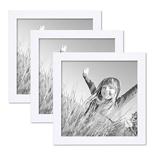 PHOTOLINI 3er Set Bilderrahmen 20x20 cm Weiss Modern aus MDF mit Glasscheibe und Zubehör/Fotorahmen (Bilderrahmen 20x20)