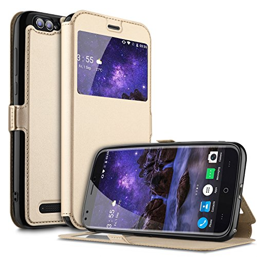DOOGEE X30 Hülle, KuGi DOOGEE X30 Premium PU Leder Kasten für DOOGEE X30 Smartphone (Gold)