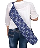 #8: Jaipur Classic Cotton Hand Indigo Printed Yoga Mat Cover with Strap, White print on Blue