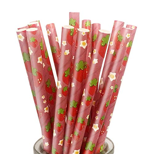 (YFZYT 100 Stück Biologisch Abbaubare Trinkhalme Papier Strohhalme Papiertrinkhalme für Geburtstag, Hochzeit, Party Favor Supplies - Erdbeere)