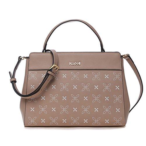 667ebb5d5c420 ... Kadell Frauen Elegante PU-Leder Handtaschen Schulter tasche Stickerei  Blume Geldbörse für Damen Khaki Khaki ...