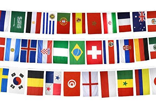 Fahnenkette Flaggenkette Fußball 2018 - alle 32 Teilnehmer, Länge 17,80 m, Flaggenfritze®