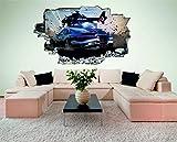 Auto Hubschrauber Verfolgungsjagd 3D Look Wandtattoo 70 x 115 cm Wanddurchbruch Wandbild Sticker Aufkleber DesFoli © C545