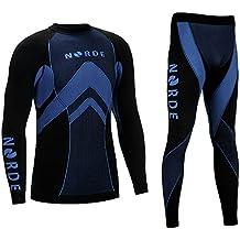 Ropa térmica deportiva transpirable para hombre THERMOTECH NORDE., color negro/azul, tamaño medium