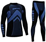 THERMOTECH NORDE Herren Funktionswäsche Thermoaktiv Atmungsaktiv Base Layer SET Outdoor Radsport Running (Schwarz/Blau, L)