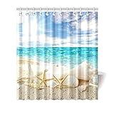 CHATAE Generic Seestern Shell auf Strand Blue Sea Sky Custom Duschvorhang 167,6x 182,9cm Badewanne Vorhang
