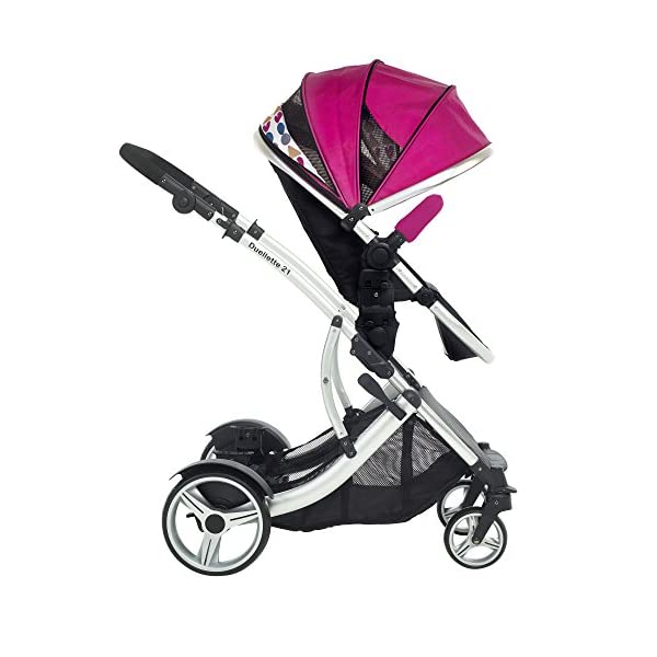 Duellette 21 BS Double Twin Pushchair with 2 footmuffs and Free Changing Bag. Complete with 2 seat units, & 2 rain covers. Dooglebug raspberry. compatible with kids kargo safety pod 0+ car seat Kids Kargo Various seat positions. Both seats can face mum (ideal for twins) Suitability Newborn Twins (if used with car seats) or Newborn/toddler. Accommodates 1 or 2 car seats Rain covers 8