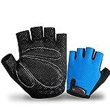Selighting Halbfinger Fahrradhandschuhe Herren Damen Rutschfest Fahrrad Handschuhe Atmungsaktive Sporthandschuhe für Radfahren Krafttraining Fitness Sport (Blau-1, L)