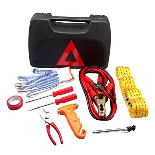 odowalker Straße Notfall Kit Set für Auto Repair Tools Zange, Rescue Hammer, flachen Schraubendreher, Reifen Druck Pen, Abschleppseil (Auto-rescue-tool)