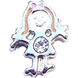 April birthstone GIRL - 8mm floating charm fits Living memory and Origami Owl style lockets