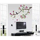 Zooarts extraíble, diseño de flores, pájaros en ramas de el espacio pared adhesivo Vinilo Adhesivos Decor Mural de Habitación