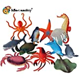 12 Sea Creature Toy Animal Figures in a polybag by Lello and Monkey