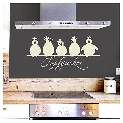 Grandora Wandtattoo Topfgucker 5 Vögel I cremeweiß 30 x 14 cm I Küche Spruch Zitat Aufkleber selbstklebend Wandaufkleber Wandsticker W862 (14 Wand-aufkleber)