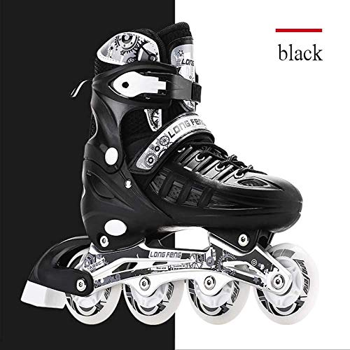 AXYQ Inline Skate/Rollerblades Mit Einstellbarer Größe Und Blinkendem Lichtrad Farbenfrohes Design Geeignet Für Erwachsene Und Kinder,Black-L(39-42)