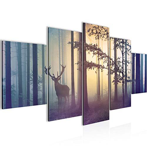 Bilder Wald Hirsch Wandbild 150 x 75 cm Vlies - Leinwand Bild XXL Format Wandbilder Wohnung Deko Kunstdrucke - MADE IN GERMANY - Fertig zum Aufhängen 013453a
