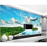 BYUVZHJ Photo 3D Fond D'Écran Moderne Vue sur La Mer Île Rainforest Avion Salon Canapé TV Fond 3D Fond D'Écran Chambre À Coucher @ 280 * 200Cm
