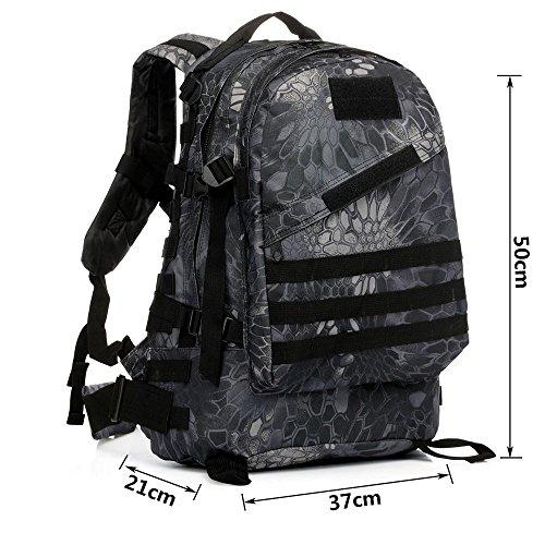 40l molle 3D zaini campeggio borsa di assalto tattici all' aperto militare di zaino per portatile da 10a 39,6cm, Black Black Python Pattern