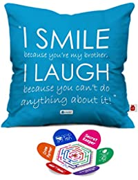 indibni Micro Satin; Fibre I Smile and I Laugh Quote Cushion Cover with Filler for Brother ; 12x12-inch; Blue