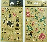 Créations en papier Autocollants - Musique thématiques Instruments de musique et les notes de musique (2 panneaux)
