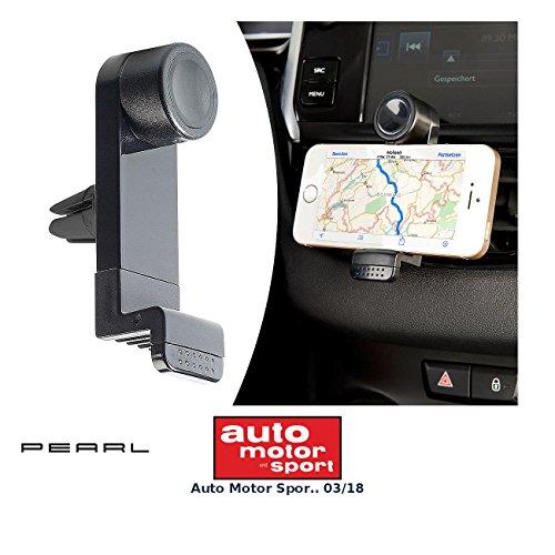 PEARL Handyhalterung Lüftung: Kfz-Universal-Smartphone-Halterung für Lüftungsgitter, 53-90 mm Breite (Handyhalterung Auto Lüftung)