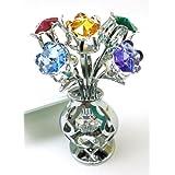 CRYSTOCRAFT Freestanding Swarovski Crystal Tulips in Crystal Vase