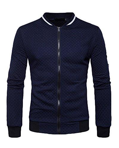 Uomo giacca casuale slim fit a maniche lunghe colore puro giacca bomber colletto dritto jacket marina militare l