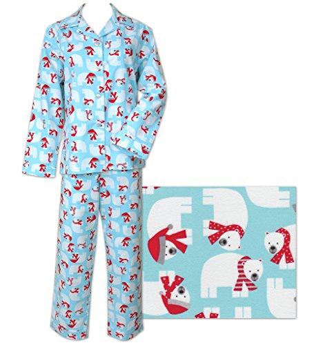 Der Katze Schlafanzüge Cozy Eisbären Damen Flanell Pyjama Gr. Large, blau (Flanell Lg)