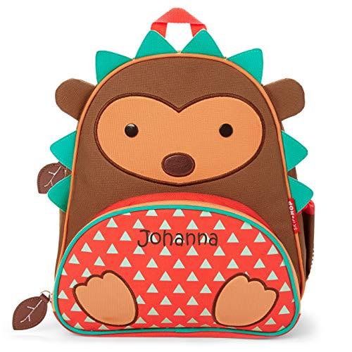 Skip Hop Kinderrucksack mit Namen | Motiv Igel in brau, rot & türkis | für Jungen & für Mädchen | Kindergarten-Rucksack mit Tieren | inkl. Namensdruck