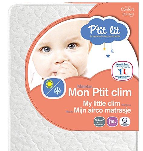 P'tit Lit - Matelas bébé Mon P'tit Clim - 70 x 140 x 10 cm - Eté Hiver - Fabrication française